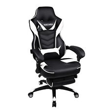 Reclining Sports Racing Gaming Office Desk PU Leather Chair Adjustable Footrest