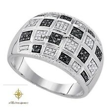 WHITE GOLD OVER 0.34 TDW BLACK & WHITE DIAMOND MEN'S WEDDING RING SIZE 7-14