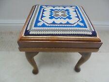 Vintage retro 1970s square teak stool, blue & grey tapestry seat, footstool
