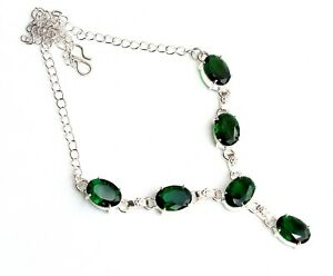Lovely Green Chrome Diopside Gemstone 925 Sterling Silver Jewelry Necklace S18