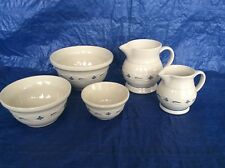 5 pc 1990 Roseville Pottery 1st Longaberger Collectible Mixing Bowls & Pitchers