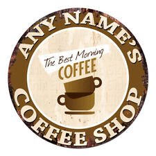 CP-0087 ANY NAME'S COFFEE SHOP Custom Personalized Chic Tin Sign Decor Gift idea
