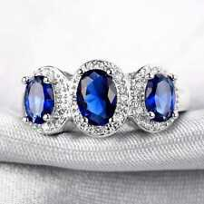 QCNL175 Handmade 2.80CT Natural Sapphire 14K White Gold Ring Size US 7