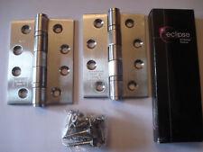 10 X Paia di ECLIPSE PORTA TAGLIAFUOCO CERNIERE Grade 13 SATINATO S.Steel - 102 x 76 x 3mm
