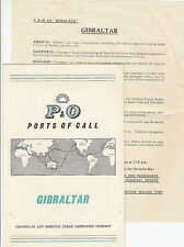 Cruise ship P & O HIMALAYA 1961 GIBRALTAR port of call brochure & notice