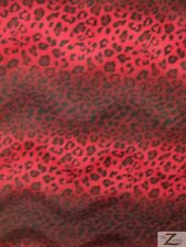 VELBOA FABRIC LEOPARD PRINT FAUX FUR- Red/Black- ONLY $6.49/YARD-SOLD BTY 715-37