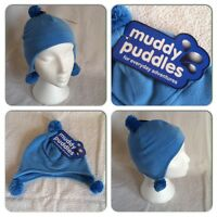 Boys Kids Childrens Pom Pom Bobble Fleece Lined Ski Hat Blue Winter Warm Beanie
