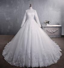 Langarm Spitze Brautkleid Hochzeitskleid mit Stehkragen Kleid für Braut BC807