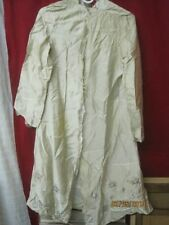 Vintage Woman's Robe ecru satin with silver Embroidery for repair or fabric