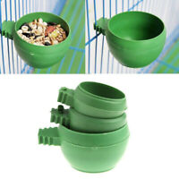 Parrot Food Water Bowl Feeder Plastic Birds Pigeons Cage Sand Cup Feeding S/M/L
