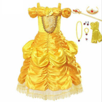 Girls Dress Beauty The Beast Princess Costume Halloween Cosplay Party Ball Gown