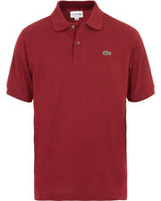 Mens Lacoste Polo Shirt L1212 Classic Fit Pinot Dark Red Polo T-Shirt NEW