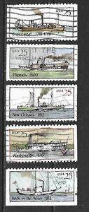 1989 USA full set of 5 stamps depicting steamboats (booklet issue) that are used