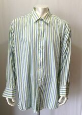 NYNE Big Mens 3X Button front long sleeve Cotton Green Blue Striped Cotton Shirt