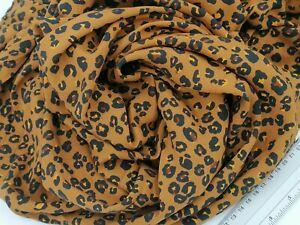 100% ViscoseStoff 1,6 x 1,50 MtrRost braun Leopard  Animal print  Blusenstoff