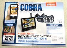 "NEW COBRA 4 CHANNEL SURVEILLANCE 2 HD CAMERA 7"" MONITOR - 63842"