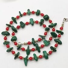VINTAGE LADIES COSTUME JEWELLERY MALACHITE GREEN AND RED BEAD NECKLACE