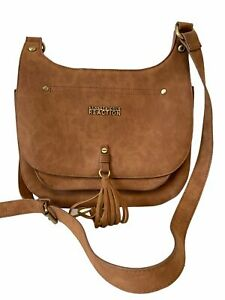 KENNETH COLE REACTION Brown Faux Leather Tassel Shoulder Bag29 x 24cm - E02