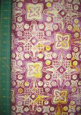 AvLyn Purple Yellow Medallion Batik Quilt Fabric