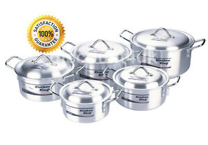 COOKWARE CASSEROLE STOCK SAUCEPAN POT SET LID ALUMINIUM 10PC KITCHEN COOKING PAN