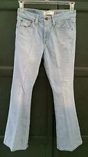 Levis 519 Size 7 Jr Flare Stretch Women's Denim Jeans light blue distressed