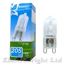 15x KOSNIC G9 18w=25w DIMMABLE ECO Halogen bulbs clear 18 Watt Safety fused