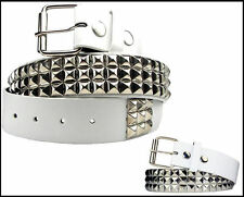 New Men Women 3Rows Silver Metal Pyramid Studded Leather Belt Skulls Crossbones
