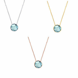 """Gemstone Necklace With Fancy Cut Blue Topaz Solitaire 18"""" 14K Solid Gold"""