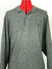 Polo Ralph Lauren Lambswool 1 Button L/S Pullover Sweater Gray Mens Size LARGE