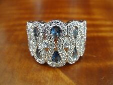 Band Sterling Silver 925 Ring Size 10 Fas Blue and Clear Cubic Zirconia Large