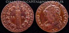 12 Deniers Constitution 1792L Bayonne Louis XVI Côte TTB 250€ Superbe Patine