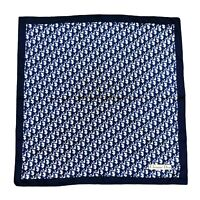 Christian Dior Vintage Square Twill Silk Scarf Trotter Monogram Navy Authentic