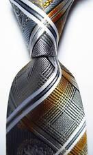 New Classic Checks Gray Gold White Black JACQUARD WOVEN Silk Men's Tie Necktie