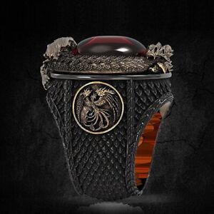 Fashion Hip Hop Men Party Dragon Rings Punk Wedding Jewelry Gift Size 6-12
