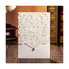 Wishmade 50pcs Vertical Ivory Laser Cut Wedding Invitations Cards with Rhines...