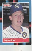 FREE SHIPPING-MINT-1988 Donruss Milwaukee Brewers Baseball Card #460 Jay Aldrich