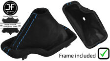 BLUE  STITCH SUEDE AUTOMATIC GEAR BOOT+ PLASTIC FRAME FOR BMW E46 1999-2005