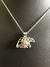 Silver Polar Bear Pearl Cage With 18'' silver Chain