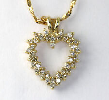Diamond heart pendant necklace 14K yellow gold round brilliant .50CT fancy chain