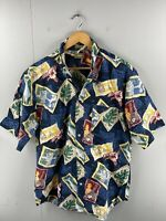 Natural Issue Men's Vintage Short Sleeve Hawaiian Fishing Shirt Size L Blue