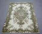 Medallion Design Vintage Area Rug Oushak Handmade Bohemian Wool Carpet 4x7 ft