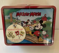 1990s Disney Mickey Mouse Lunch Box School Bus Wagon Candy & Cookie Tin Sealed