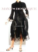 Stunning Dress Coat Crinkle Silk Velvet & Organza Ruffle Black S/M