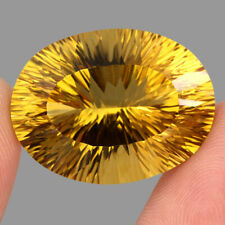 Jumbo Size Clean 53.40ct. 29x22mm. Oval Concave Cut 100% Natural Yellow Citrine
