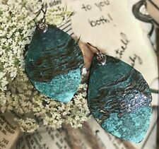 Silpada Cayman Earrings  W3071 sterling silver and patina brass-green New