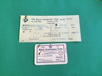 The Royal Automobile Club London 1954 Membership Card &  Receipt R37241