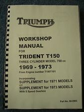 TRIUMPH TRIDENT T150 WORKSHOP MANUAL 99-0963 All models from 1969-73 TW38
