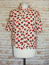 size 16 Primark crop blouse short sleeve concealed buttons cream floral print