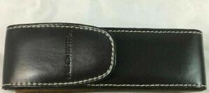 NEW TALL Quality Dark Brown Leather LAUREN HUTTON Eye Glass Hard Case