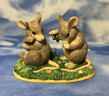 "Charming Tails ""I'm So Sorry"" Gray Mice Couple Figurine Mouse Flowers Guc As Is"